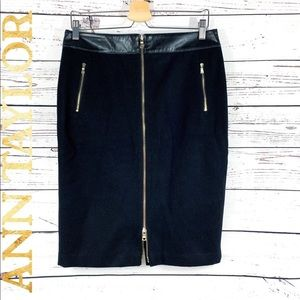 Ann Taylor Black Wool Leather Skirt with Zipper